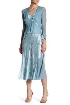 Komarov Midi Dress and Shaped Jacket 2-Piece Set Ocean Blue Size Small NWT$418 2 Piece Blue Dress