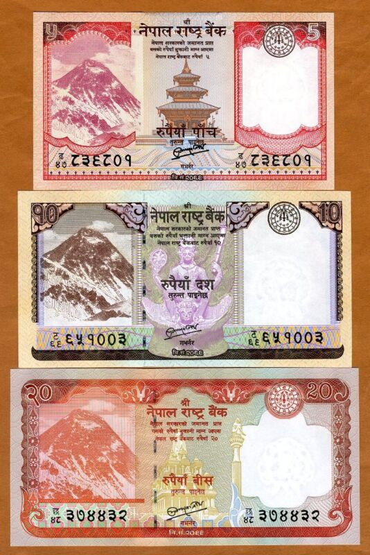 SET Nepal, 5;10;20 Rupees, 2012-2017, P-New, Rastra Bank, UNC Everest, Animals