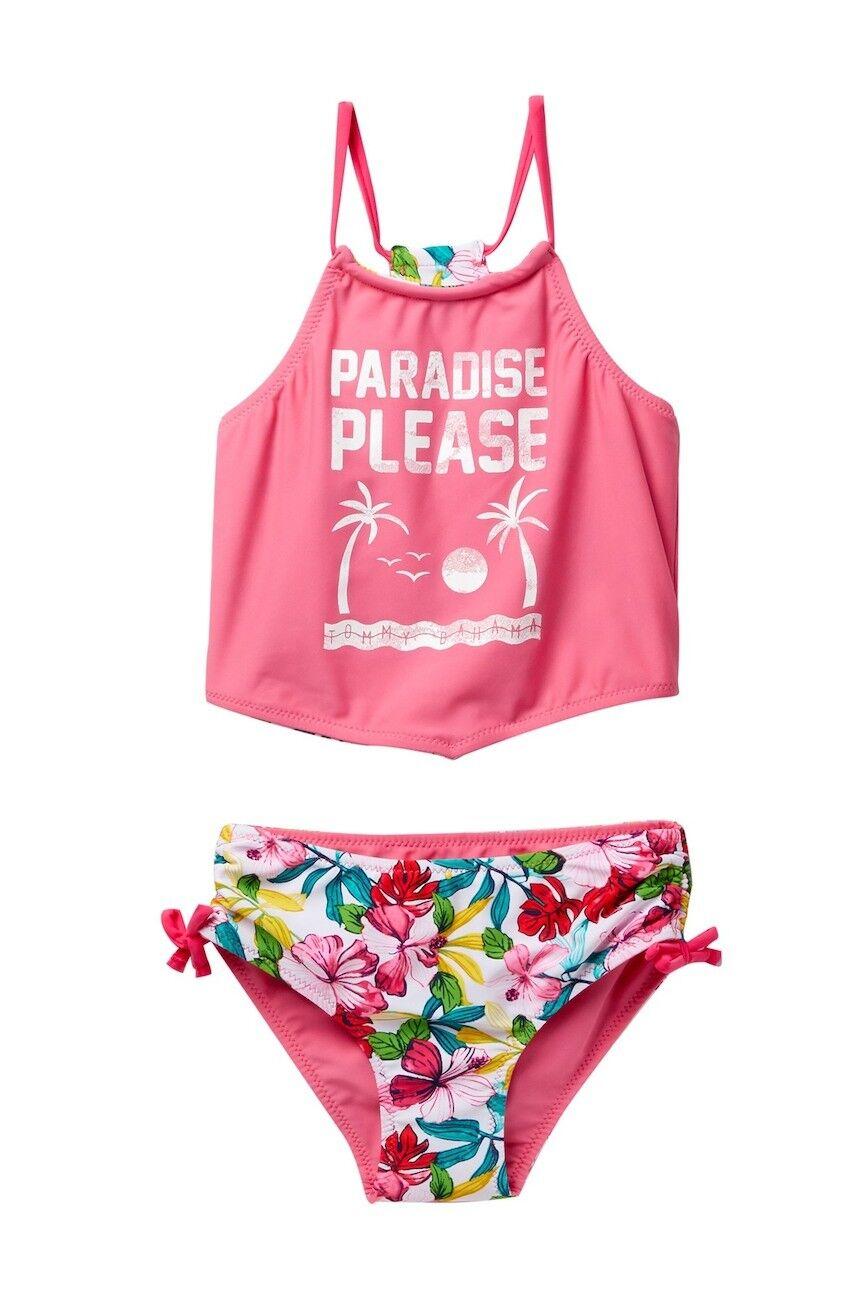 Billabong Mädchen 2t 2 Teile Bikini Badeanzug Tankini Paradise Bitte Blumen Rosa