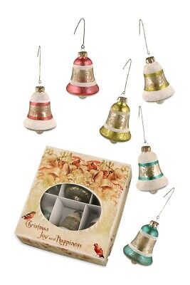 Bethany Lowe Designs set of 6 glass bell Christmas ornaments, vintage look