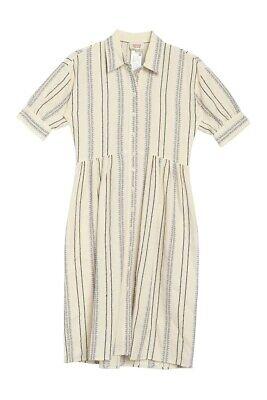 Paul & Joe Sister 6 / 36 Shirt Dress Off White Striped Jacquard Shirt Dress New