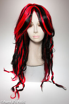 Wig Long Slick & Twisted 2 Tone Black & Red Middle Part Synthetic Hair Wig