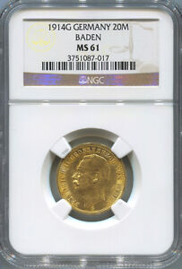 1914G German States Baden, 20 Mark Gold. NGC MS 61. King Wilhelm II