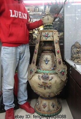 "50"" Nepal Buddhism Silver Inlay Turquoise Ruby Beryl Berg Crystal Vase Pot Jar"