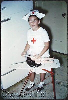 Hospital Halloween 2 (2 Orig Slides DOLL HOSPITAL NURSE Little Girl 1950s RED CROSS Halloween)