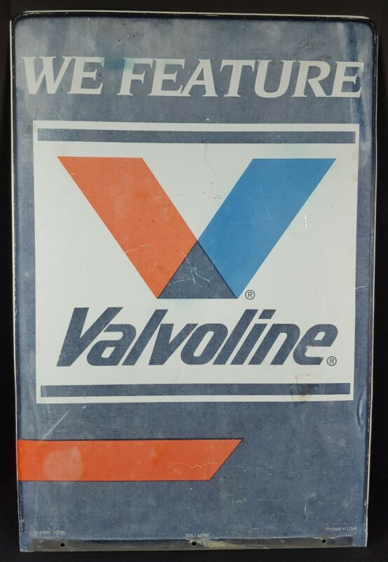 Vintage Valvoline 36x24  Double Sided Metal Sign We Feature Valvoline Distressed