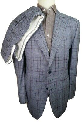 £1999.95 CANALI 1934 BLUE PLAID FLANNEL SUIT **ONE OF A KIND!!** UK 46 IT 56 38