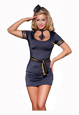 Sexy First Class Stewardess Kostüm - 6-teilig - Flugbegleiterin Kapitän Captain