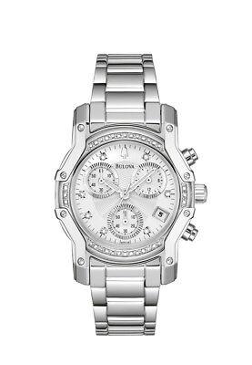 Bulova Women's 96R138 Quartz Diamond Accents Chronograph Silver-Tone 32mm Watch