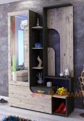 Mobile ingresso moderno specchio appendiabiti Soho Rovere anticato + Antracite
