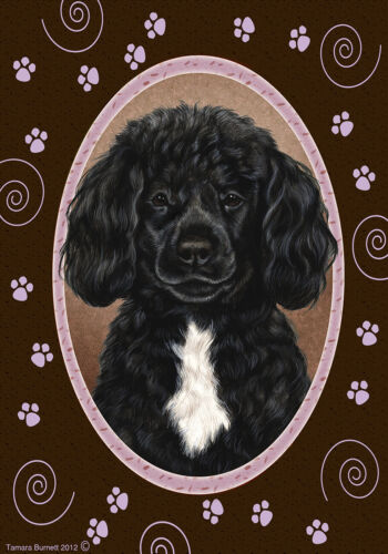 Paws House Flag - Black and White Portuguese Water Dog 17489
