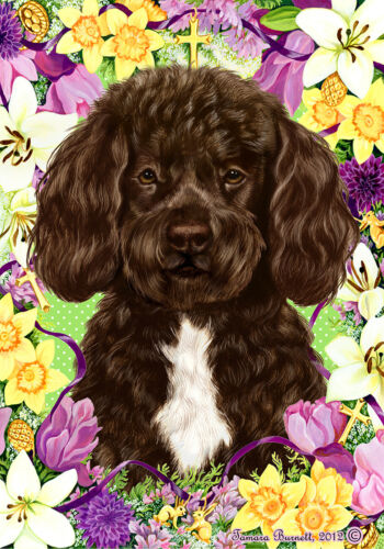 Easter House Flag - Brown and White Portuguese Water Dog 33488