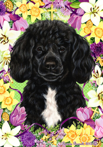 Easter House Flag - Black and White Portuguese Water Dog 33489