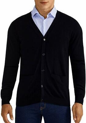 Mens Cardigan Sweater 100% Cotton Pockets Casual Slim Fit V-Neck Solid Knitwear Pocket V-neck Cardigan