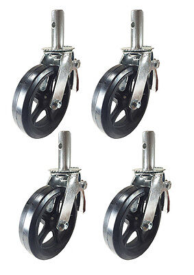 4 Pcs Scaffold Caster 8 X 2 Black Wheels W Locking Brakes 1-38 2000 Lbs.
