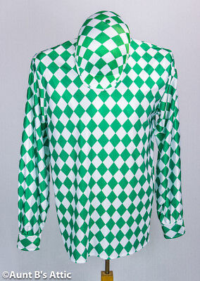 Jockey Costume Shirt Green & White Poly Satin Kentucky Derby Shirt & Hat Option](Jockey Costumes)