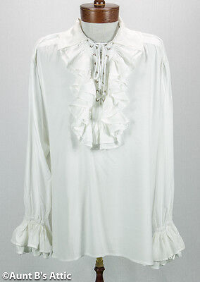 Pirate Shirt Men's 100% Rayon Laced Front Ruffled White Or Black Costume Shirt](Frilly Pirate Shirt)