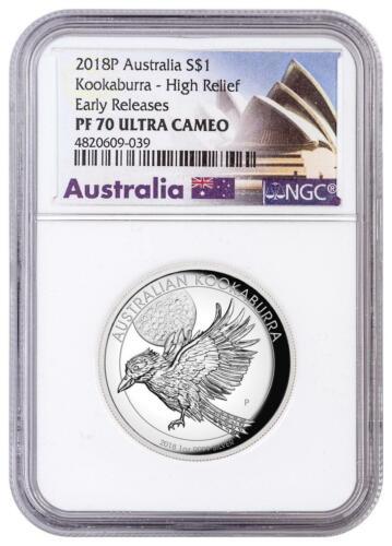 2018 Australia Kookaburra High Relief 1oz Silver $1 NGC PF70 UC  Early Release