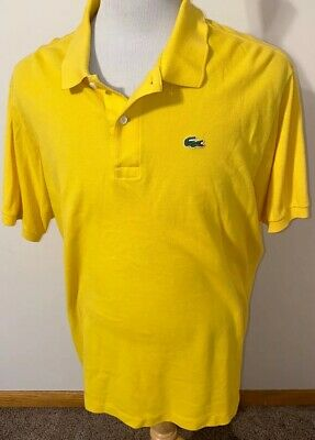 Lacoste Mens Short Sleeve Polo Shirt Size 9 - XXL Yellow 100% Cotton Croc Logo