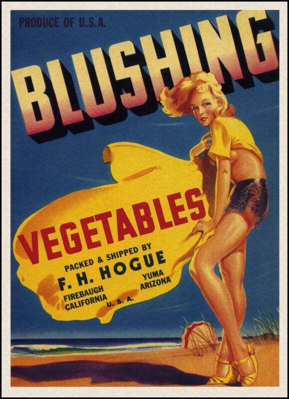 Blushing Orange Fruit Crate Label Art Print F.H. Hogue California Arizona