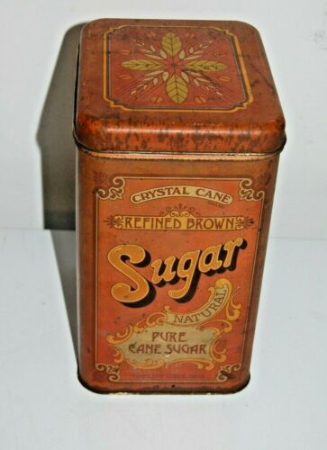 Vintage Tin Canister Pure Crystal Cane Refined Brown Sugar Chein & Co