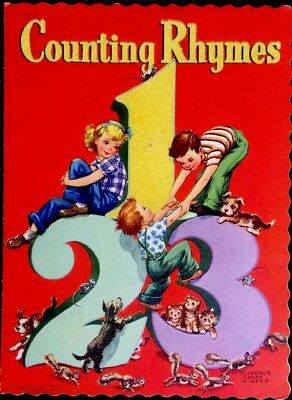 COUNTING RHYMES ~ Winship ~1940's Children's Nursery Lithographs Flocked Book](Children's Counting Books)
