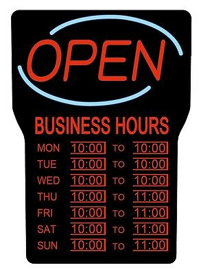 Royal Sovereign Rsb-1342e Led Open With Business Hours Sign English - Open Sign