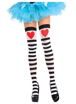 Heart and Striped Thigh Highs Alice Queen of Hearts Adult Costume Accessory ()