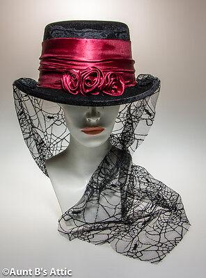 Victorian Gothic Rose Top Hat Ladies Blk Velour & Burg. Rose Spider Web Lace Hat