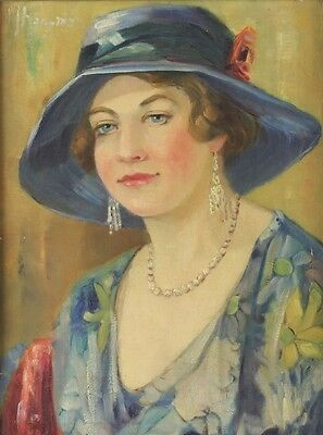 Manfred Hausman (German 1892-1955) Oil Painting Portrait of Fashionable Woman