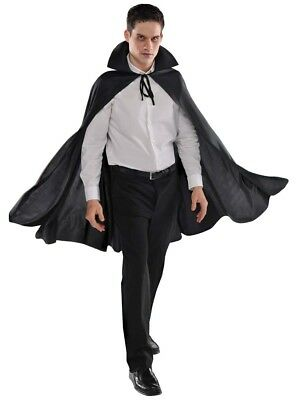 Mid Length Collared Black Cape Vampire Magician Adult Costume Accessory
