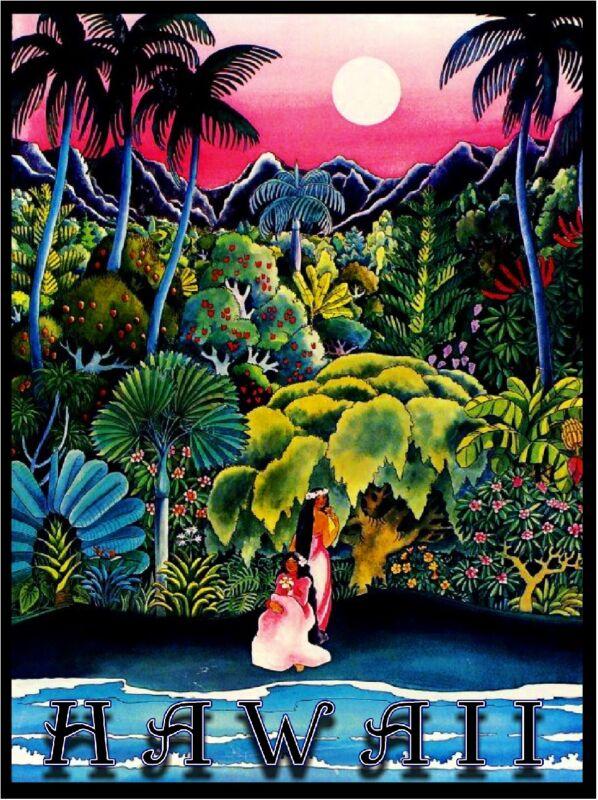 Hawaii Island Hawaiian Girls Oahu  Waikiki Vintage Travel Advertisement Poster