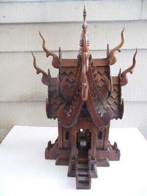 "Thai Spirit House 24 3/4"" x 15"" diameter House Teak Wood Buddha Temple XL"