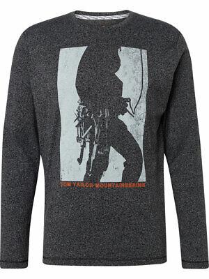 Tom Tailor Herren Langarmshirt Melange Print Shirt  Regular Fit  XS S M L XL 3XL