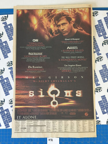 The New York Times Signs/S1m0ne Full Page Newspaper Movie Ads (Aug 23, 2002) A31