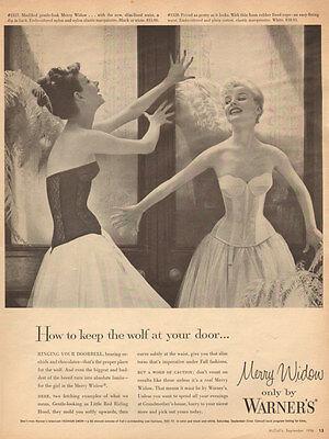 1956 vintage Lingerie AD, WARNER'S  MERRY WIDOW Bras Bustiers  (110614)