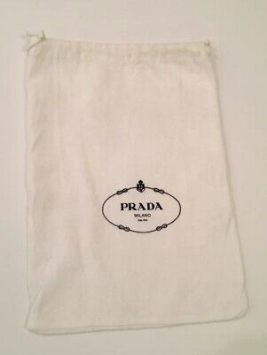 "PRADA  Drawstring Dust Bag Shoes Purse 13"" x 11"", Off/White, NWOT"