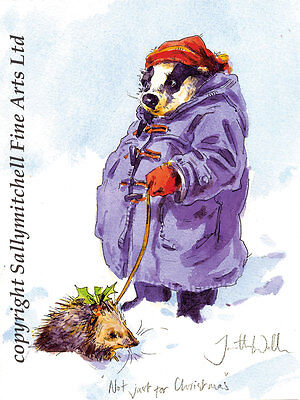 Funny wildlife Badger Christmas cards pack of 10 by Jonathan Walker C307x