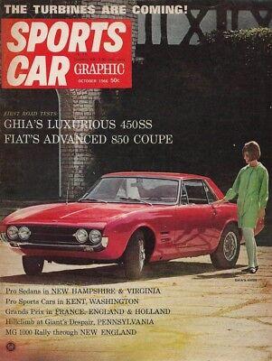 SPORTS CAR GRAPHIC 1966 OCT - TURBINES, FIAT 850, DINALPIN, GHIA 450SS - Oct Sports Car