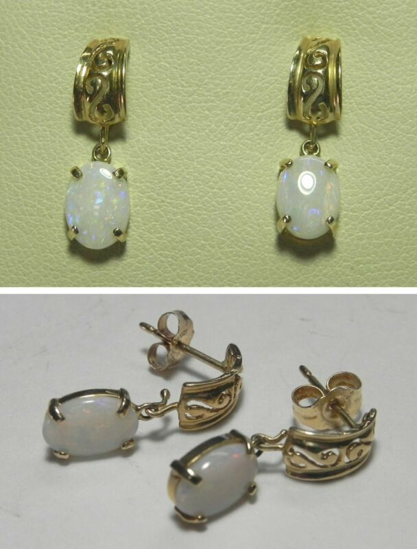 C1482 Vintage 14K Solid Yellow Gold White Fire Opal Stud Earrings
