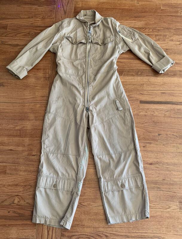 Vintage Summer Flight Suit Khaki Jumpsuit Military Medium