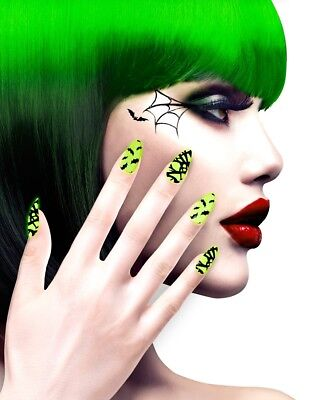 Neon Stiletto Halloween Fingernägel für Damen NEU - Styling Schminke Karneval Fa