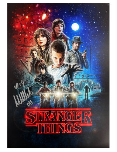 A3 Stranger Things S1 Poster Signed by Millie Bobby Brown 100% Authentic + COA