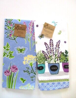 Kay Dee Designs - Kitchen Terry Towels - Herb Garden Flowers & Pots Set of 2 NWT