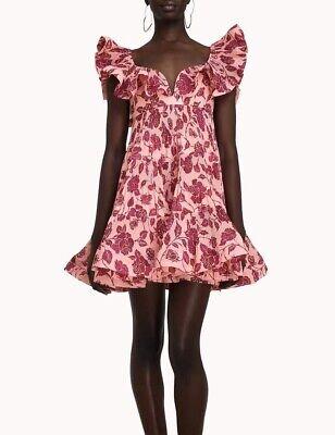 ZIMMERMANN The Lovestruck ruffled floral-print plissé-crepe mini dress Size 2