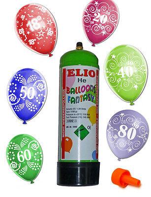 HELIUM-SET mit  15 bunten Luft Ballons zum fliegen lassen Geburtstag Zahl NEU ()