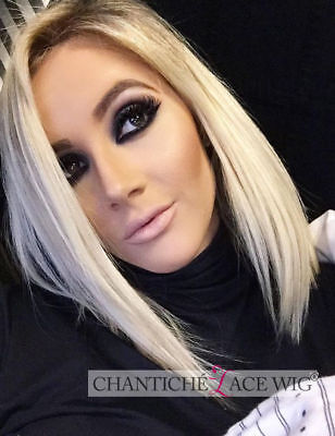 Dark Root Ombre Platinum Blonde Lace Front Wig Short Bob Wigs for Halloween Day