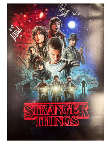 A2 Stranger Things S1 Poster Signed by Brown & Schnapp 100% Authentic + COA
