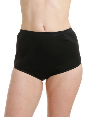 Damen Taillenslip 6er Pack mit Spitze Stretch Baumwolle Schwarz oder Weiß