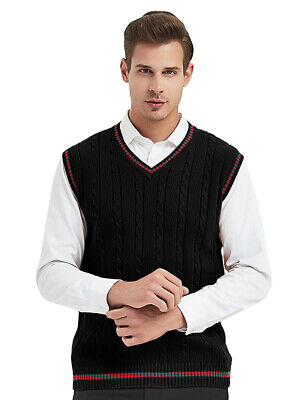 TopTie Mens Sweater Vest V Neck Sleeveless Pullover Basic Cable Knit Work Casual Knit Sweater Vest